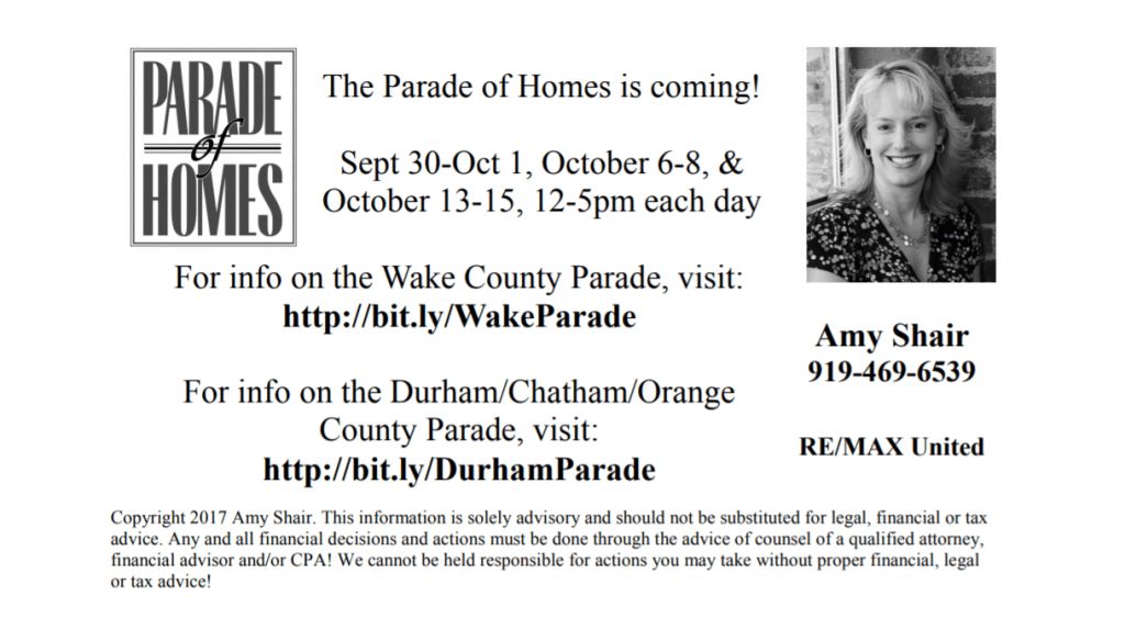 The Parade of Homes is Coming September 30 to October 1