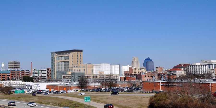 Downtown Durham - Photo by James Willamor on Wikimedia Commons