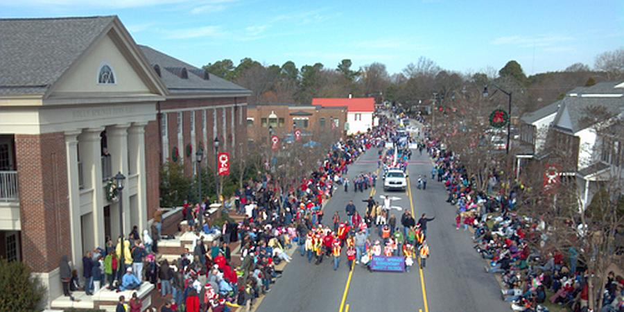 Holly Springs North Carolina downtown during Chrismtas parade
